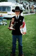 Andrew winning the Junior Herdsperson, Southland Royal A & P, 1999, aged 13 years.